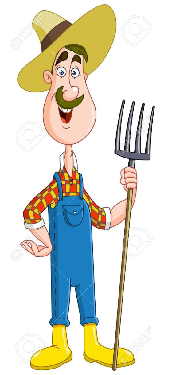 14033584-Friendly-farmer-with-pitchfork-Stock-Vector-farmer-cartoon-gardener
