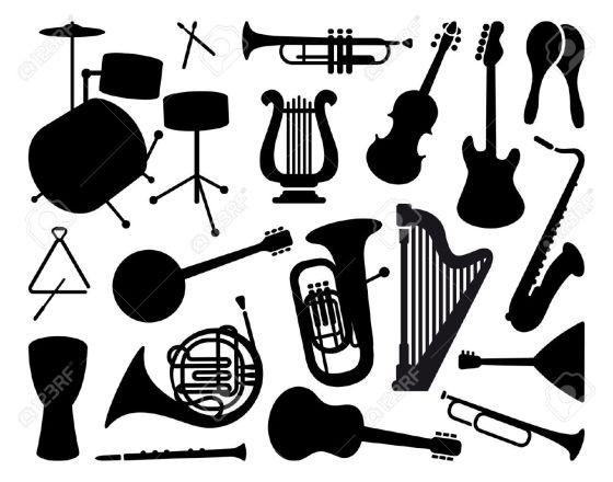 12805704-Silhouettes-of-musical-instruments-Stock-Vector-music