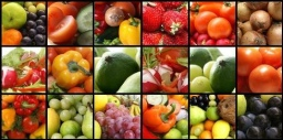 Nutrition collage of nine pictures